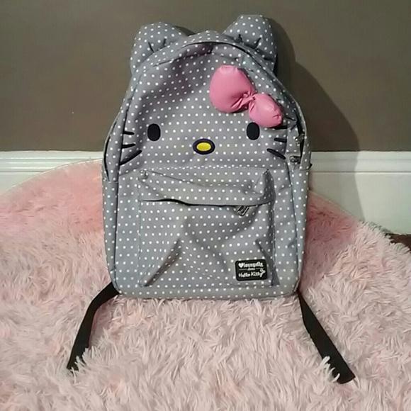 f97ccb4856 Loungefly Handbags - Loungefly hello kitty backpack polka dot gray kids